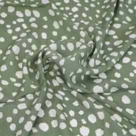 Tissu viscose oil green à motif imprimé pois irrégulier destroy blanc | pretty mercerie | mercerie en ligne