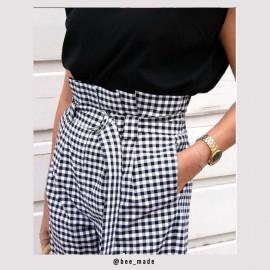 Tissu coton stretch motif vichy tissé noir et blanc  Pretty mercerie   Mercerie en ligne