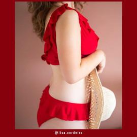 Tissu maillot de bain rouge intense   Pretty Mercerie   mercerie en ligne