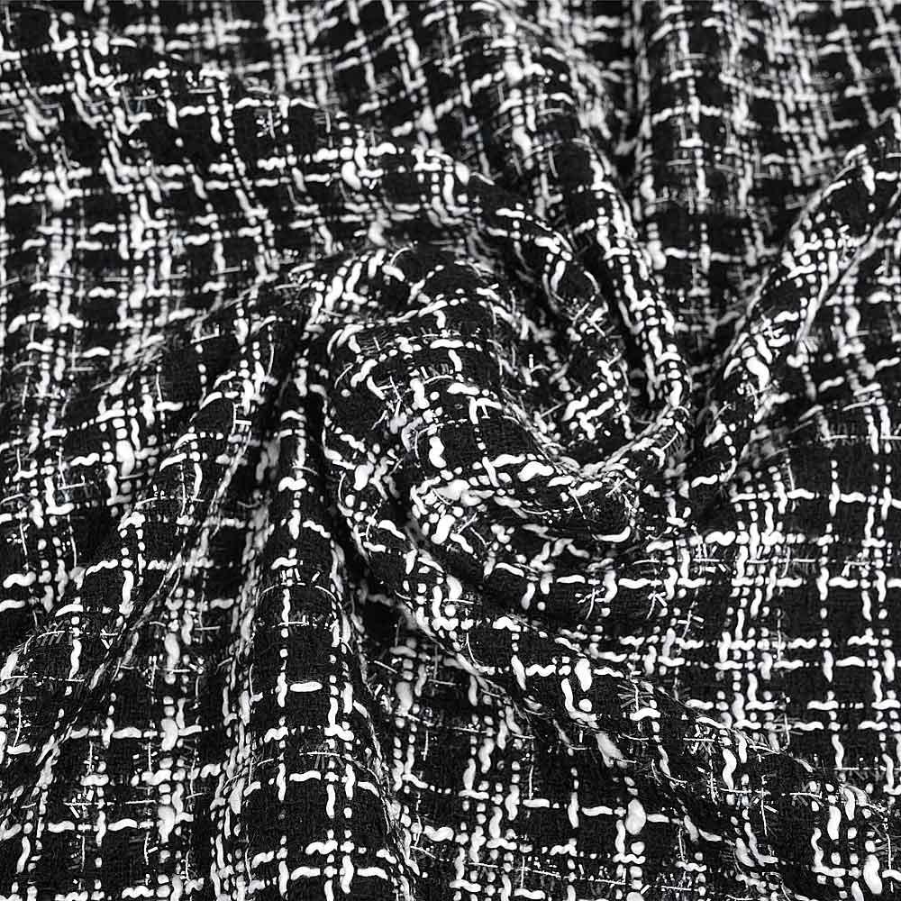 Tissu tweed noir à motif carreaux blanc et fil lurex transparent   pretty mercerie   mercerie en ligne