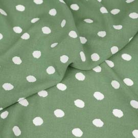 Tissu viscose vert kashmir à motif pois irrégulier blanc | pretty mercerie | mercerie en ligne