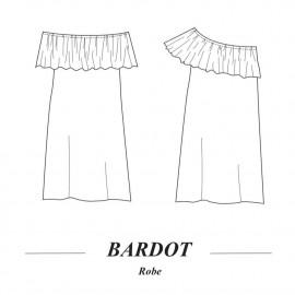 patron de couture Robe Bardot : symétrique et asymétrique | pretty mercerie