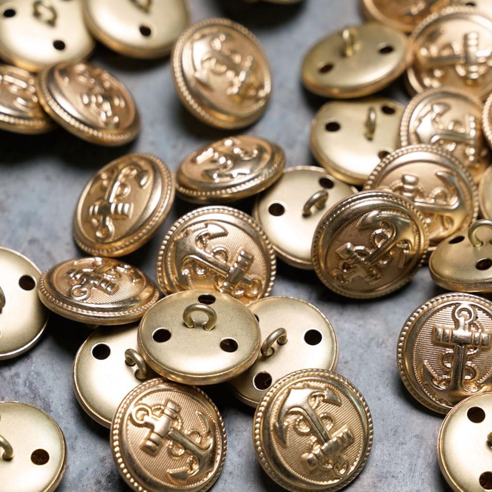 Bouton métal rond ancre gold  Pretty Mercerie - Tissus pas cher - Mercerie en ligne