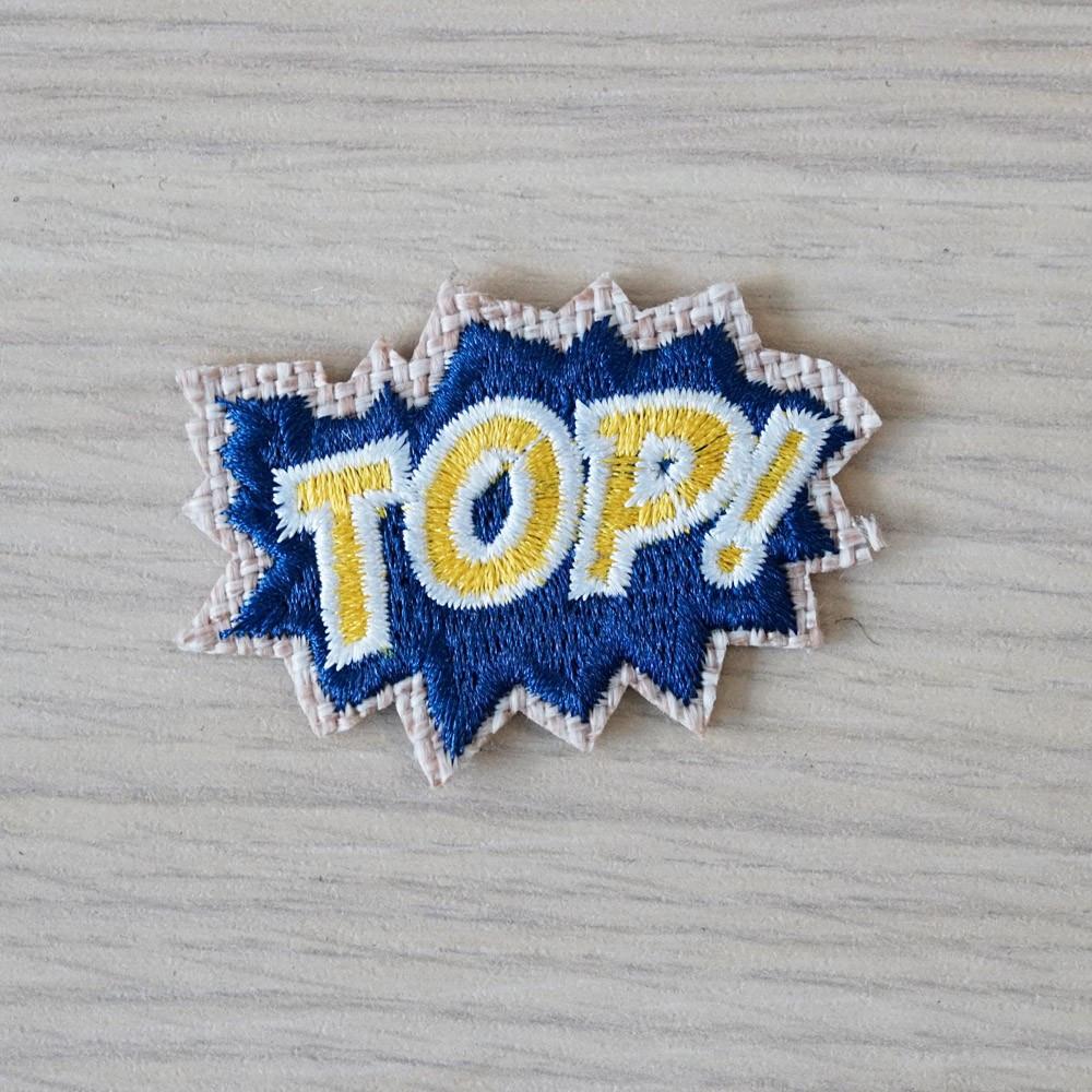 Badge brodé Top- pretty mercerie - customisation - mercerie en ligne - mercerie pas cher