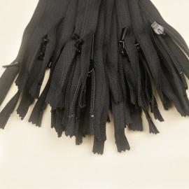 Fermeture éclair invisible non-séparable noir 25 cm  - pretty mercerie - mercerie en ligne